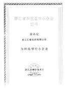 浙江省科技型中小企业证书